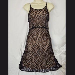 Bebe Moda Black Lace Spagetti Strap Dress M